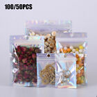 Multi Size Clear Front Holographic Back Glossy Foil Mylar Zip Lock Bag 50/100pcS