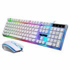 For PS4 PC Combo Wired RGB LED Backlit Ergonomic Gaming Keyboard and Mouse Sets