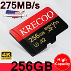 USA Micro Memory Card 256GB 275MB/S Class10 4K Fast Flash TF Card with Adapter
