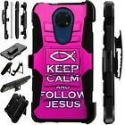 Luxguard For Cricket Ovation/AT&T Radiant Max Phone Case Cover FOLLOW JESUS PINK