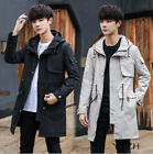 Men New Coat Trench Coat Long Sleeve Lapel Hooded Casual Outerwear Mid-Length