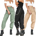 Women Cargo Trousers High Waist Sports Casual Hip Hop Pants With Chain