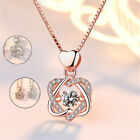 Women Crystal Necklace Heart Pendant Chain Jewellery Gift Rose Gold Silver