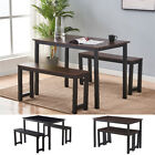 3 Piece Dining Table Set With 2 Benches Wooden Kitchen Dining Room Furniture