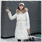 Women's Warm Loose Coat Long Faux Fur Collar Over The Knee Parka Jacket Hooded