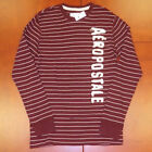 Aeropostale Mens Thermal T-Shirt Long Sleeve Embellished Tee Striped Red Xl New