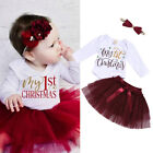 US My 1st Christmas Baby Girl Xmas Clothes Romper+Tutu Lace Skirt 3PCS  Outfits