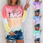 Womens Long Sleeve Floral T Shirt Casual Loose Tops Blouse Plus Tunic Letters US
