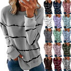 Womens Autumn Long Sleeve Striped T Shirt Causal Plus Size Pullover Tops Blouse