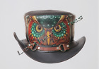 Men's Leather Steampunk Owl Motorcycle Club Biker Top Hat- Black