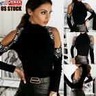 Women's Turtleneck Long Sleeve Tops Blouse Ladies Cold Shoulder Casual Shirt
