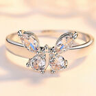 Fashion Butterfly 925 Silver Rings For Women White Sapphire Wedding Gift Sz 5-10