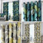 Tropical Eyelet Curtains Palm Leaf Print Ready Made Lined Ring Top Curtain Pairs