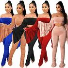 Sexy 2 Piece Outfits for Women - Long Sleeve Crop Top Stacked Leggings Tracksuit