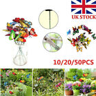 10/20/50pack Colorful Garden Butterflies Stakes Patio Flowerpot Ornaments Decor