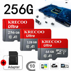 Hot KRECOO 256GB micro Memory SD Card 100MB/S 4K Class10 Flash Card with Adapter