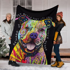 Dog Lover Gifts Cute Pitbull Dog Color Painting Sherpa Fleece Blanket A