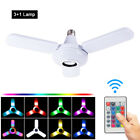 E27 120W RGB LED Color Changing Light Bulb Bluetooth Speaker Fan Lamp+ IR Remote