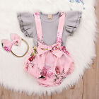 Newborn Infant Baby Girls Solid Ribbed Tops Floral Ruffled Bow Suspender Shorts