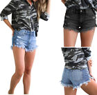 Внешний вид - Women's Casual Ripped Denim Distressed Skinny Stretchy Shorts Hot Pants Jeans
