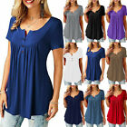 Womens V Neck Short Sleeve Solid Summer Blouse T Shirt Casual Loose Tunic Tops