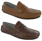 MENS LOAFERS DRIVING SHOES REAL LEATHER MOCCASIN SOFT FLAT COMFORT CATESBY