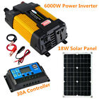 18W Solar Panel 6000W Power Inverter Set 30A 12V Solar Charge Controller System