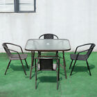 Garden Furniture Table & Chair Set Outdoor Black 4 Seat Parasol Hole Table Patio