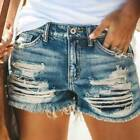 Lady Stretchy Denim Shorts Distressed Jeans Ladies Hot Pants Skinny Ripped Pant