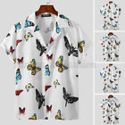 Men's Short Sleeve Butterfly Printed Shirts Casual Beach Holiday Blouse Tee Tops