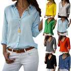 Womens Long Sleeve V Neck Button Down Blouse Lady Casual Solid Loose Shirt Top