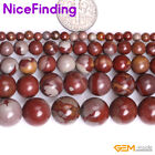 "Natural Red Australia Noreena Jasper Round Gemstone Jewelry Making Beads 15"" DIY"