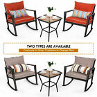 Garden 3pcs Rocking Chairs & Table Bistro Set Furniture Patio Outdoor W/cushions