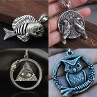 Men's Punk Silver Animal Owl Skeleton Pendant Goth Rock Party Jewelry Necklace