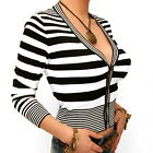 New Striped Three Quarter Length Sleeve Cardigan - Sizes 8 10 12 14 16