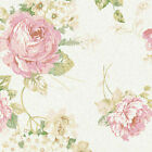 "LINEN COTTON CURTAIN COVER DRAPERY FABRIC VINTAGE FLORAL ROSE OATMEAL IVORY 54""W"