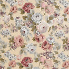 CANVAS COTTON UPHOLSTERY CURTAIN FABRIC VINTAGE FLORAL