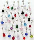 CZ Cubic Zirconia Belly Ring~*YOU PICK COLOR/SHAPE*~2/2