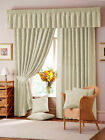 "LANA 3"" TAPE DAMASK FULLY LINED CURTAINS IN NATURAL"