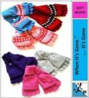 7-12 Years GIRLS SOFT CAPPED CAP MITTENS/FINGERLESS WINTER GLOVES warm