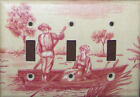 Toile Pink Ecru Light Switch Plates Electrical Outlets