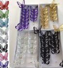 box of 12 clip on jewelled and glittered 8cm decorative butterflies