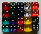 20 Six Sided Gem Spot Dice Translucent 15MM RPG D6 NEW