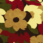 HEAVY CANVAS FABRIC VINTAGE BIG FLORAL PRINT RED BEIGE