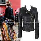 jp11 Celebrity Style Motorcycle Biker Style Soft Faux Leather Fitted Crop Jacket