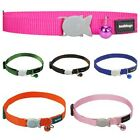 Red Dingo Plain Nylon Cat Collar Choice Of Colours + Bell