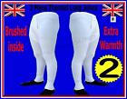 2 pieces Mens Thermal Brushed Long Johns Bottoms Underwear WHITE Warm