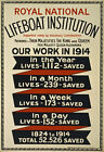 WA21 Vintage WWI LifeBoat Poster Showing Lives Saved British War Poster A1 A2 A3