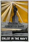2W2 Vintage WWI For Liberty's Sake Enlist In The Navy War Poster WW1 A1 A2 A3