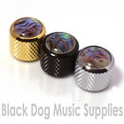 Guitar control knob abalone inlay in chrome black or gold for tone or volume